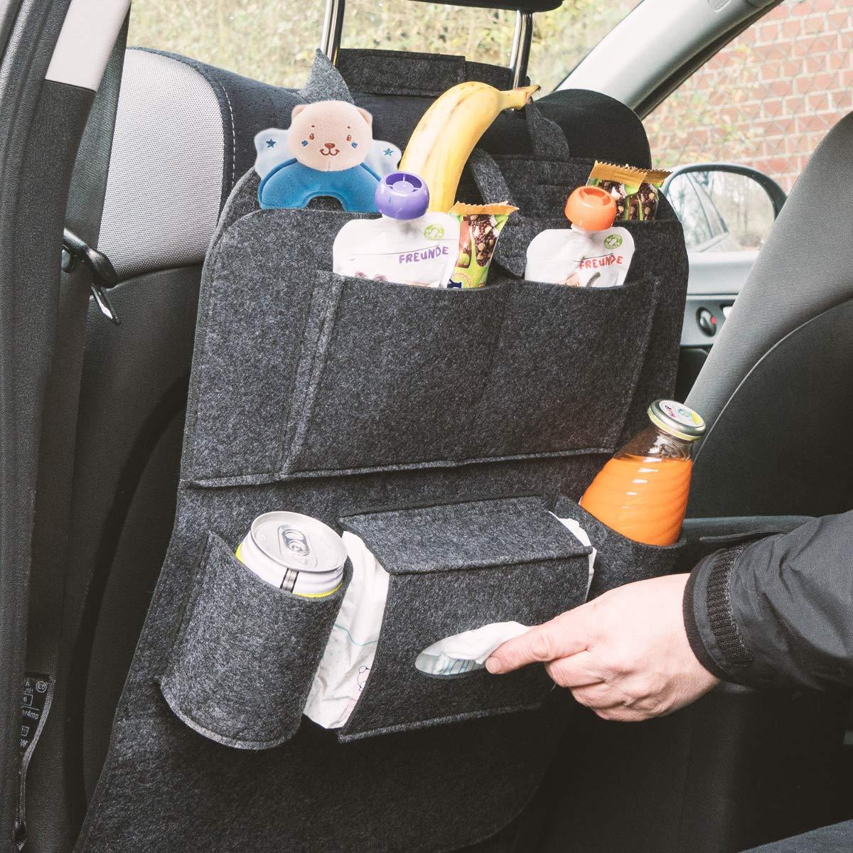 Navaris Auto R/ücksitz Organizer R/ücklehnenschutz Kinder R/ückenlehnenschutz Tasche in Schwarz 56 x 42 cm Filz Autositz R/ückenlehnentasche