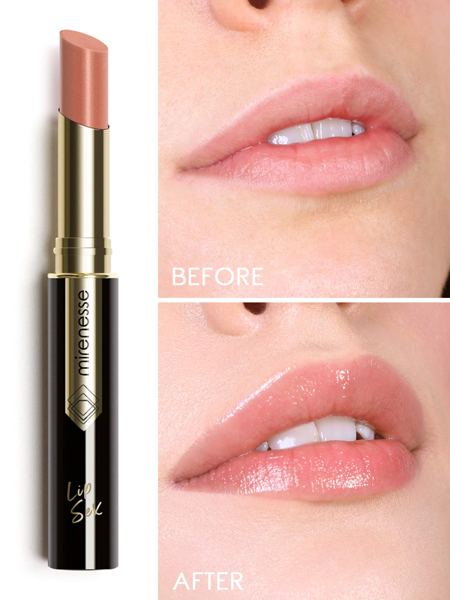 Mirenesse Lip Sex Plump & Fill Tint, Hydrating Plumping Lipstick Balm with Tint and Vitamin C + Vitamin E, Vegan and Toxin Free, 1 Raw Nude .07 oz