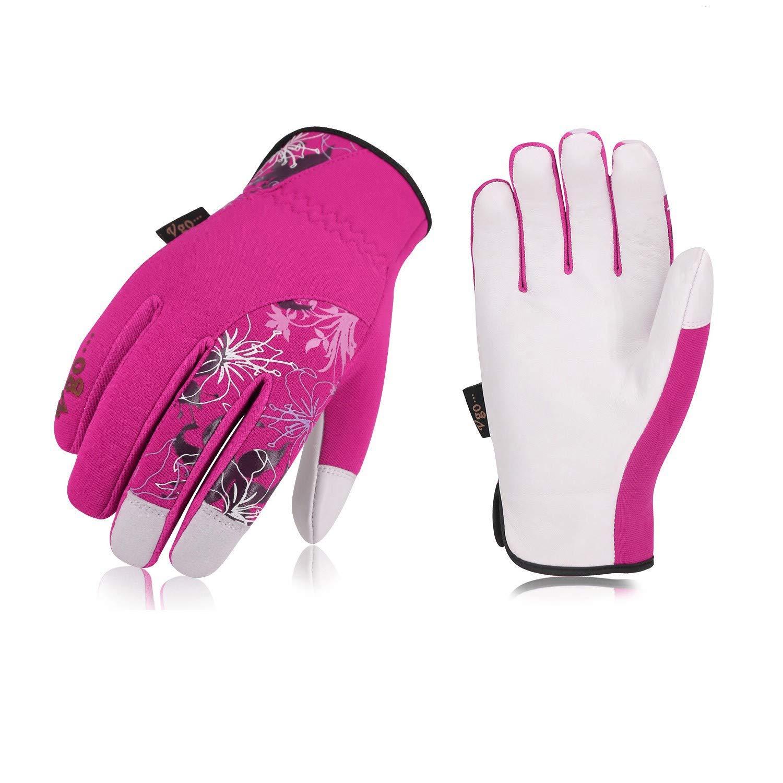 Vgo... Ladies' Goatskin Leather Gardening Gloves(1Pair,Size L,Red,GA7444)