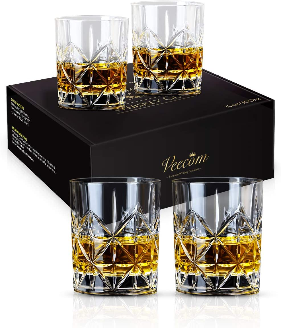 Whiskey Glass Whiskey Glass Set Of 4 Veecom 10 Oz Thick Bottom Old Fashioned Whiskey Glasses For Men Premium Whiskey Gifts For Bourbon Scotch Cocktail Glass Set 4 Old Fashioned Glasses