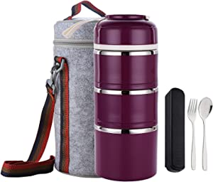 TiLeMiun 3 Layer Stackable Bento Lunch Box, Insulated Stainless Steel Compartment Lunch Container with Lunch Bag and Cutlerly BPA-Free (Purlpe)