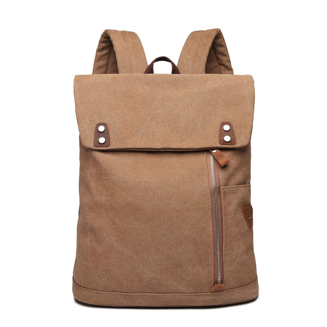 Wxnow Canvas Vintage Backpack Casual College Daypack Men Women Laptop Travel Rucksack Coffee