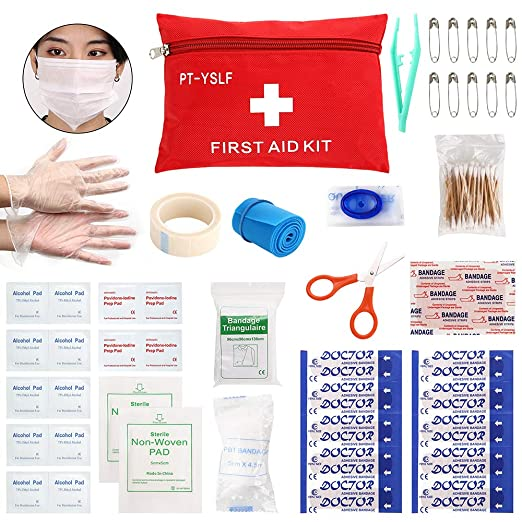 Mini First Aid Kit Medical Survival Bag,77 Piece Small First Aid Kit,Emergency CPR Face Mask,Compact Emergency for Travel, Home, Office, Vehicle,Camping,Hiking, Workplace,Outdoor,Survival.PT-YSLF