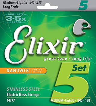 Elixir 14777 - Cuerdas para bajo eléctrico (recubrimiento nanoweb ultrafino, acero inoxidable, calibre Medium Super Light B, 5 cuerdas, 0,045 - -0,130): ...
