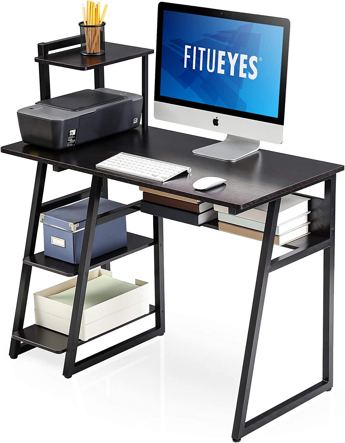 FITUEYES Computer Desk with Storage Shelves,Writing Table with Bookshelf,Workstation Home Office Desk