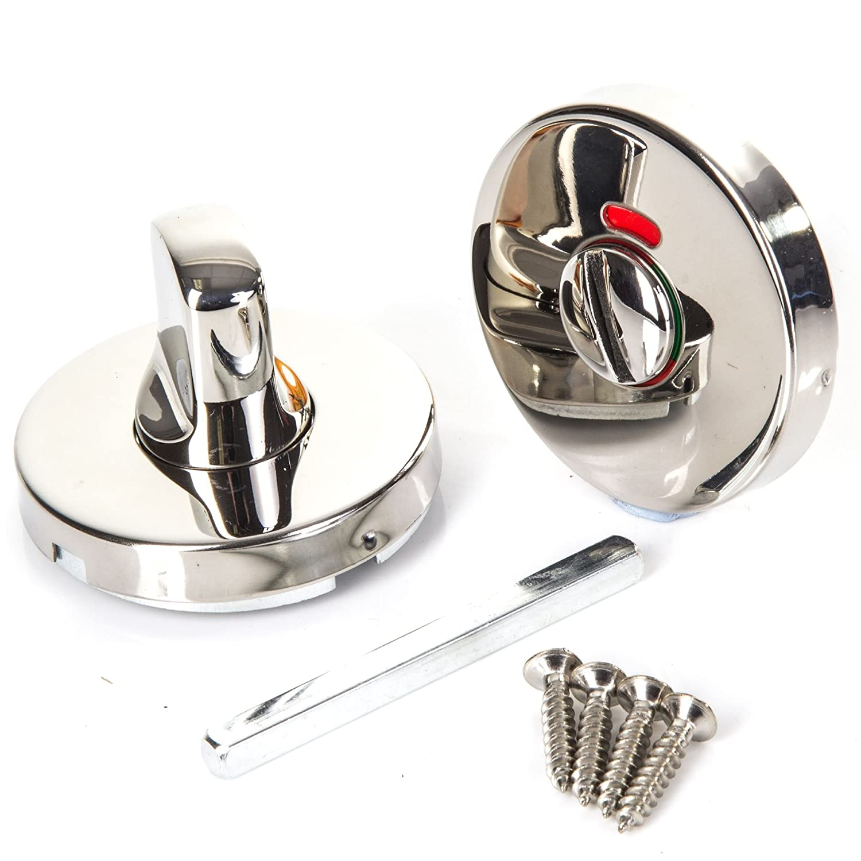Polished Stainless Steel Bathroom Thumb Turn Set | 50mm White Hinge