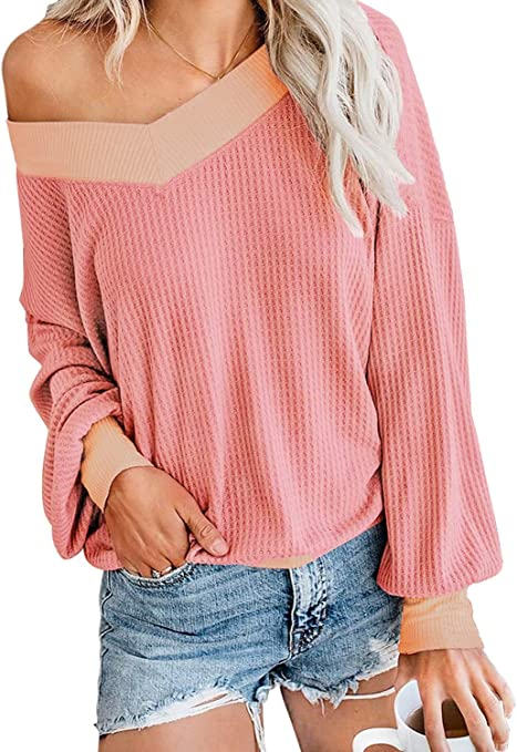 Glanzition Women's Casual V Neck Long Sleeve Waffle Knit Off Shoulder Top Oversized Sweater,Pink,S
