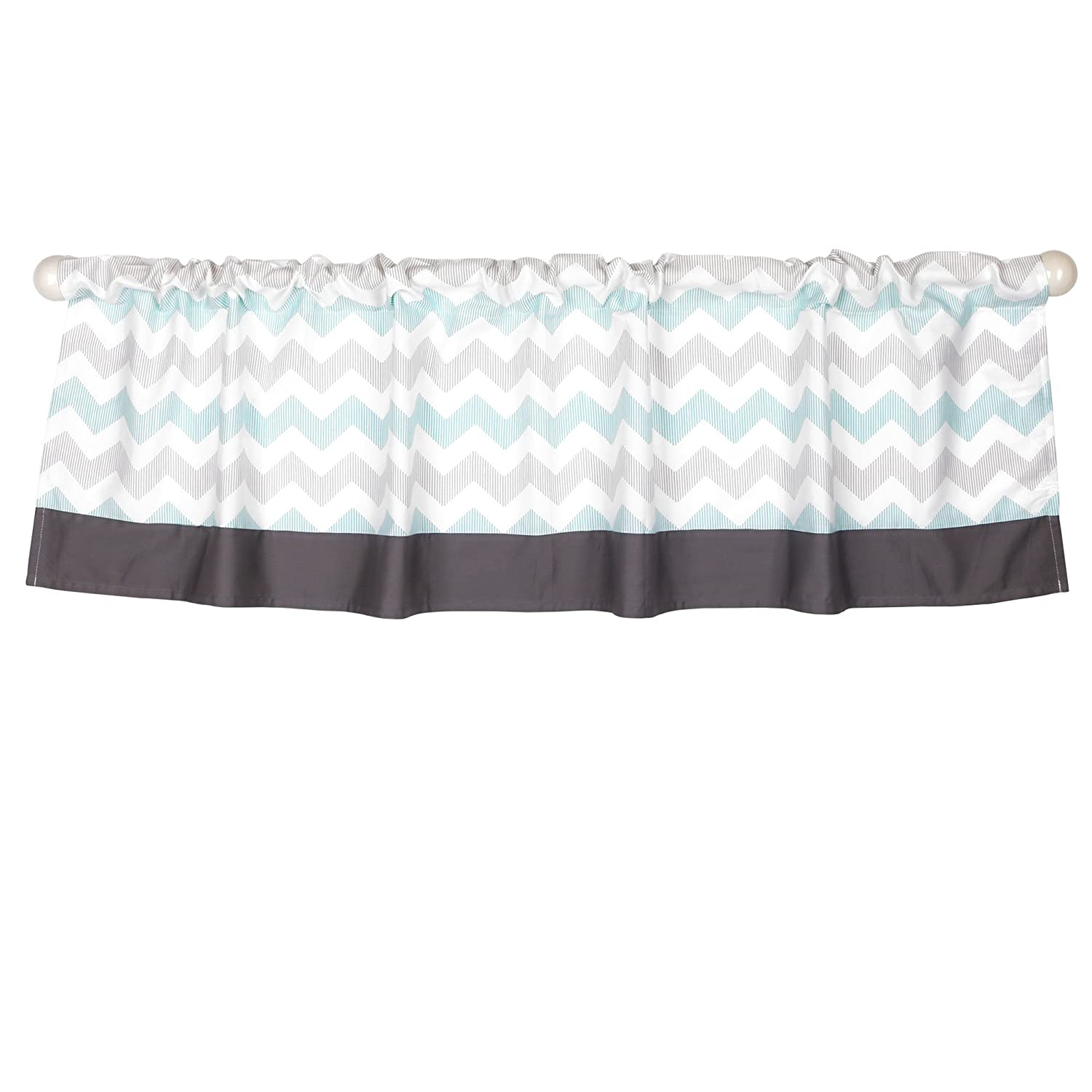 Uptown Giraffe Mint and Grey Chevron Window Valance by The Peanut Shell Farallon Brands WVPS-GIR