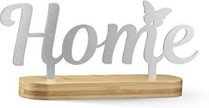 NOX Design Home Sign with Stylish Bamboo Stand - Small Signs for Home Decor - Home Decor Sign - Standing Cutout Word Decor - Table Top Word Art - Above Mantle Decor - Word Cutout Signs