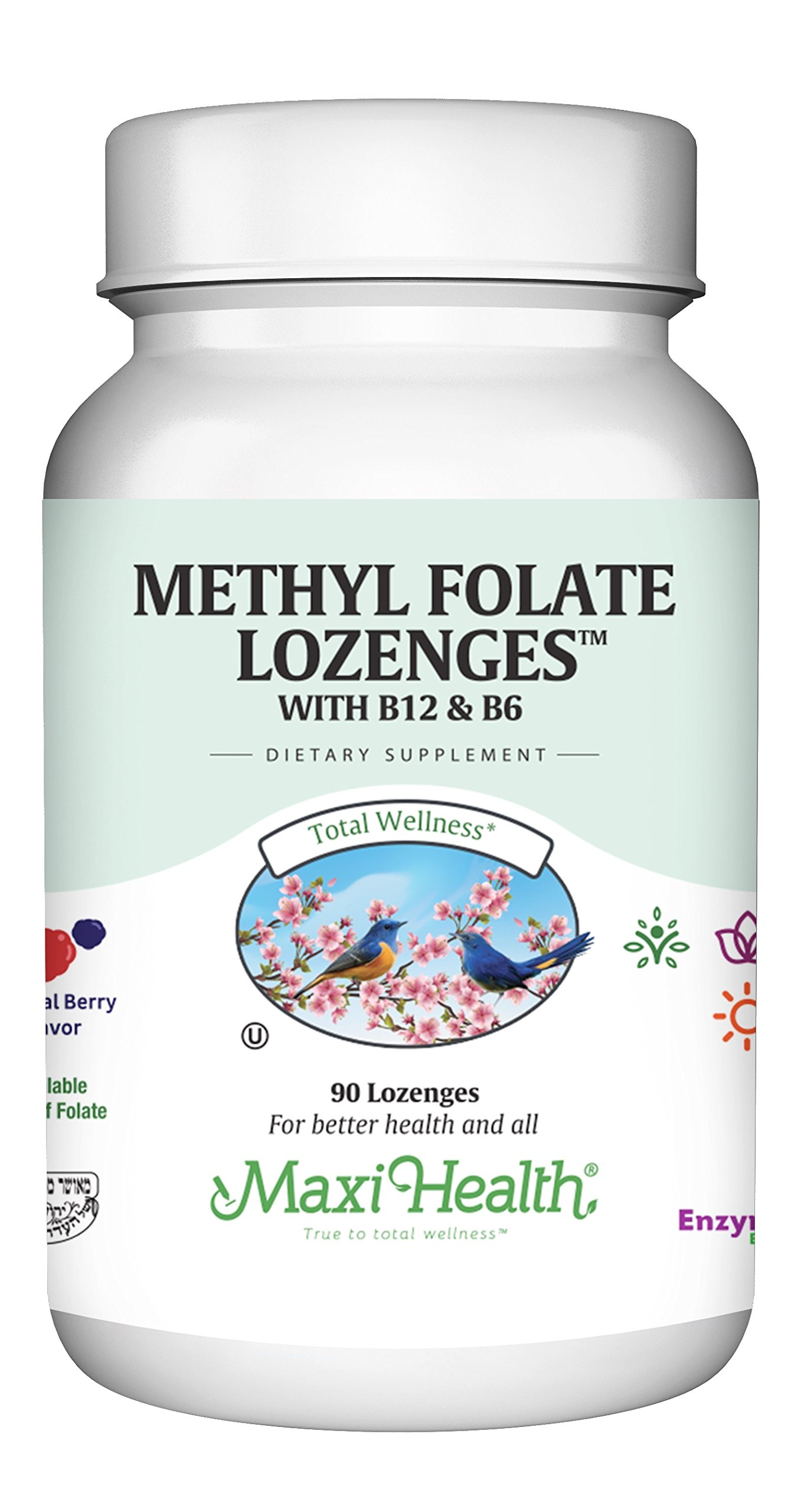 Methyl Folate Lozenges with B12 & B6, Berry Flavored - Memory, Cardiovascular Health Hormone & Immune Support - Gluten Free, Kosher