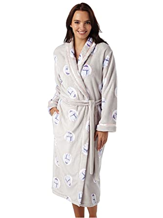 62b9fc5ddf Ladies Owl Print Warm Fleece Shawl Collar Robe Owl  Amazon.co.uk ...