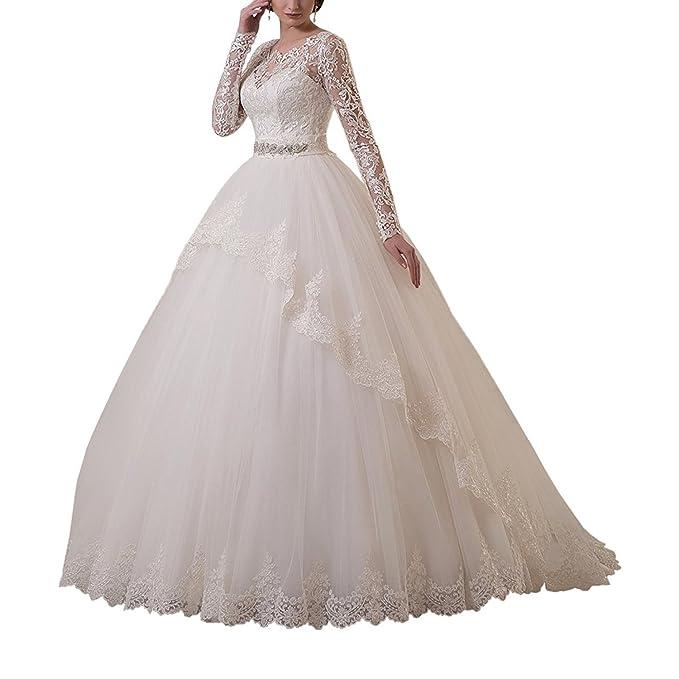 VIPbridal Mujeres de manga larga encaje vestido de bola vestidos de novia para la novia: Amazon.es: Ropa y accesorios