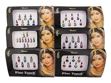 Banithani 6 piezas bindi tatuaje indio frente temporal joyas ...