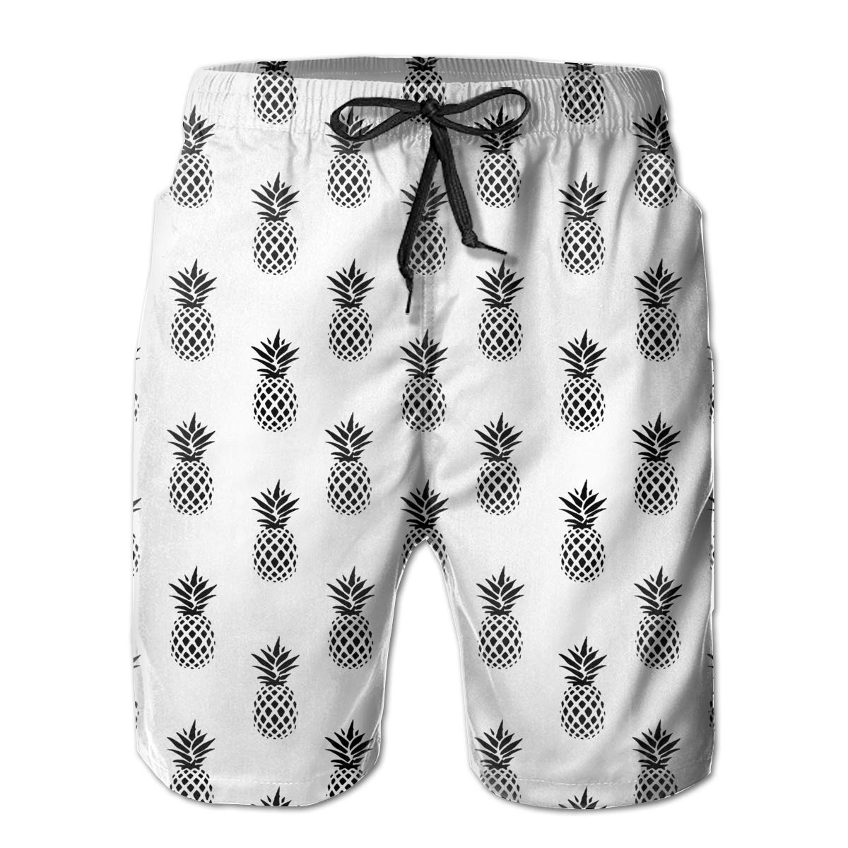 UHT28DG Minimalistic Pineapples Pattern Mens Beach Shorts Quick Dry Swimming Shorts