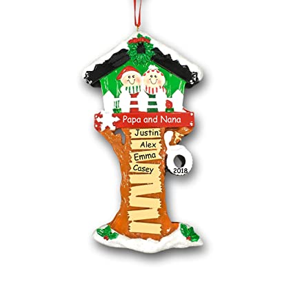 aabc3b724 Personalized Holiday Christmas Tree House for Parents or Grandparents with  Tire Swing and Decorations Hanging Christmas Ornament with Your Choice of  ...
