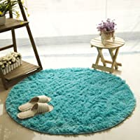 FUT Oval Childrens Place Mats - Fluffy Rugs Anti-Skid Shaggy Area Rug, Multi Colors Carpets, Baby Child Kids Playing…