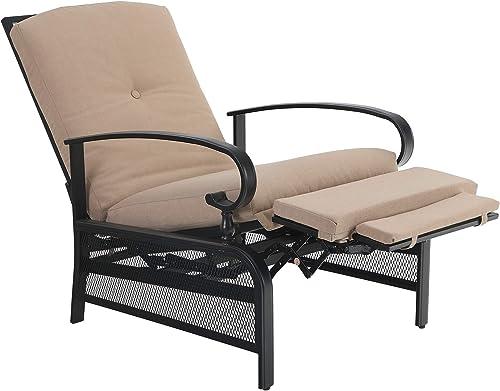PHI VILLA Adjustable Patio Recliner Chair Metal Outdoor Lounge Chair