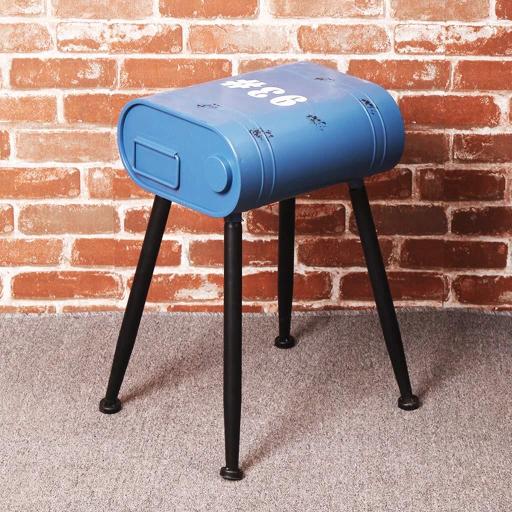Calyvina Industriel Vent r/étro Bar Tabouret Fer Essence Baril Tabouret canap/é Repose-Pieds Tabouret Salle /à Manger Chaise,Blue