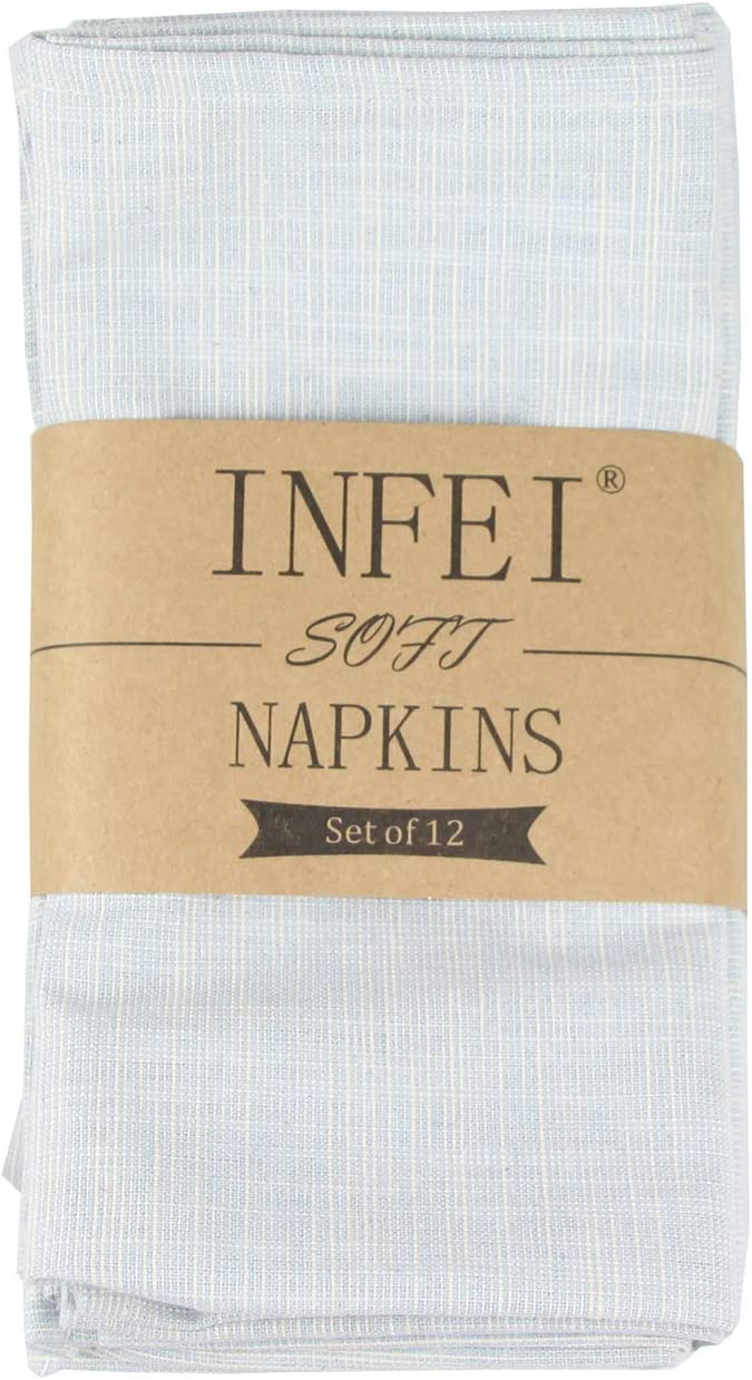 INFEI Vintage Grain Linen Cotton Dinner Cloth Napkins - Set of 12 (17 x 17 inches) - for Events & Home Use (Blue)