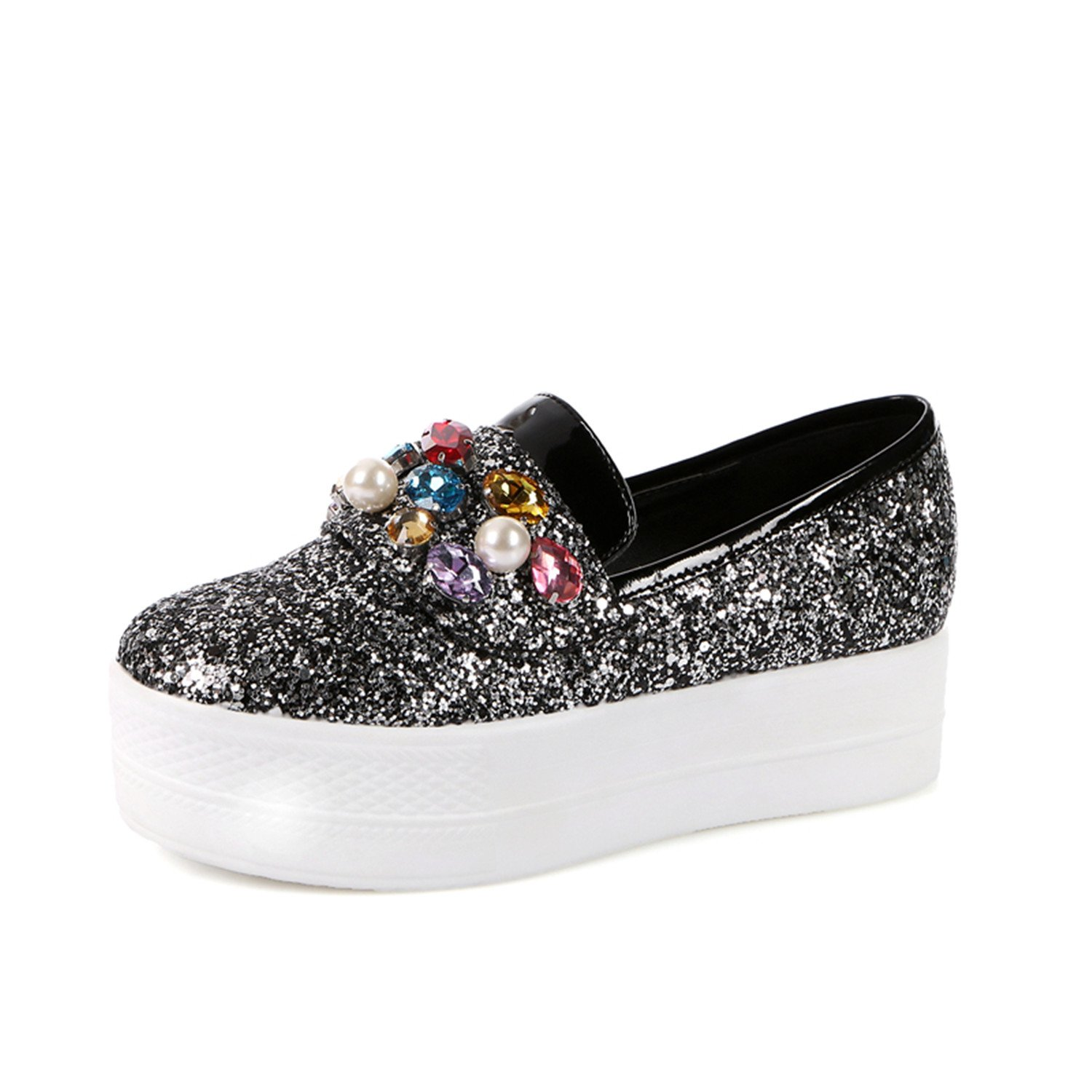 Naomiky Large Sizes 33-43 New Casual Flat Platform Pearls Crystals Bling Upper Women Shoes Woman