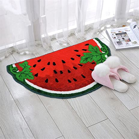 Great Hoomy Cute Watermelon Design Floor Mats For Kids TPR Nonslip Doormats  Half Round Polyester Floor