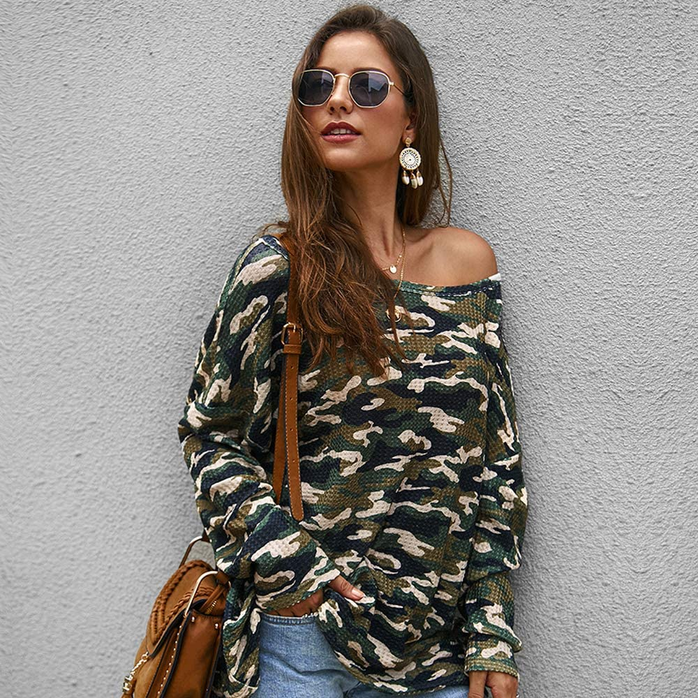 imidol Womens Camouflage Casual Oversized Off Shoulder Knit Sweaters Pullovers Tops
