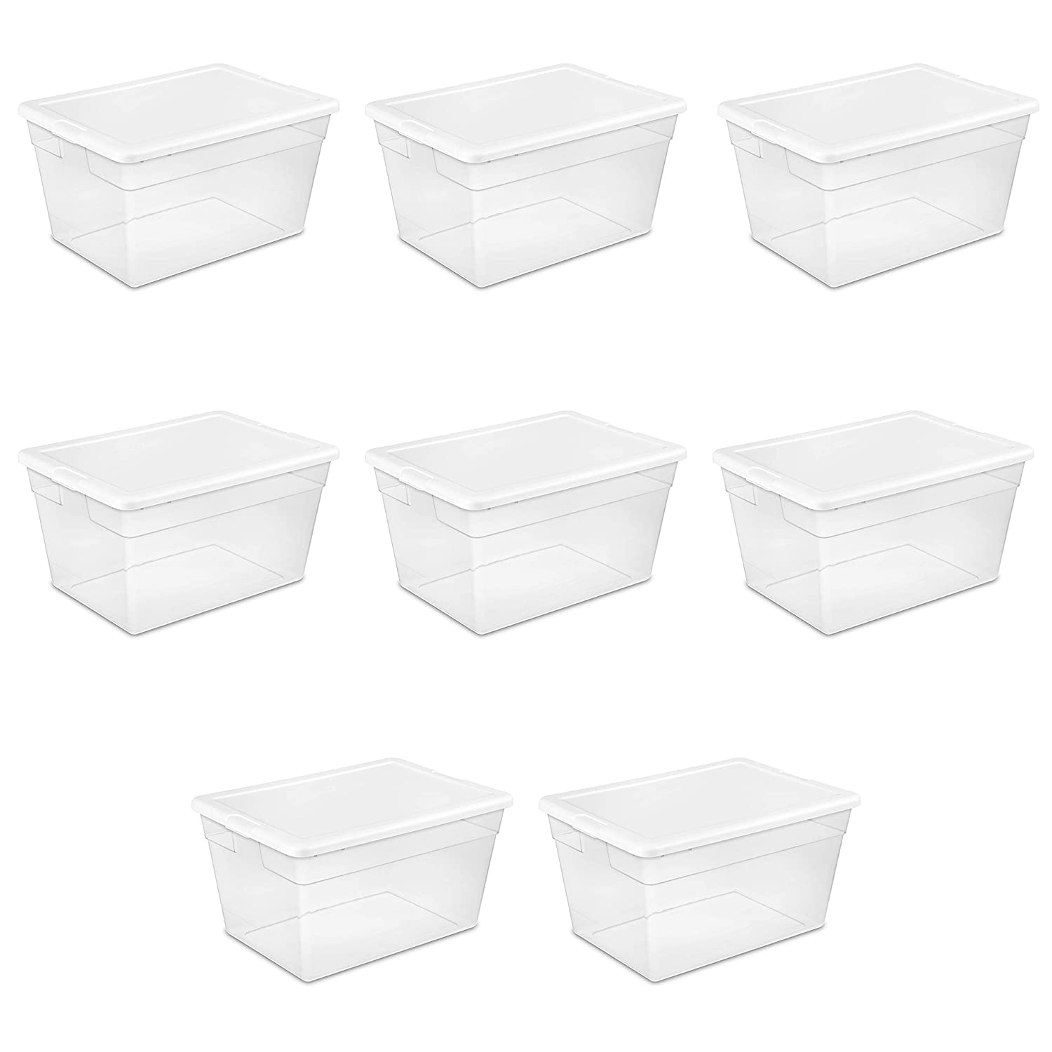 Sterilite 16598008 56 Quart/53 Liter Storage Box, White Lid w/ Clear Base, 8-Pack