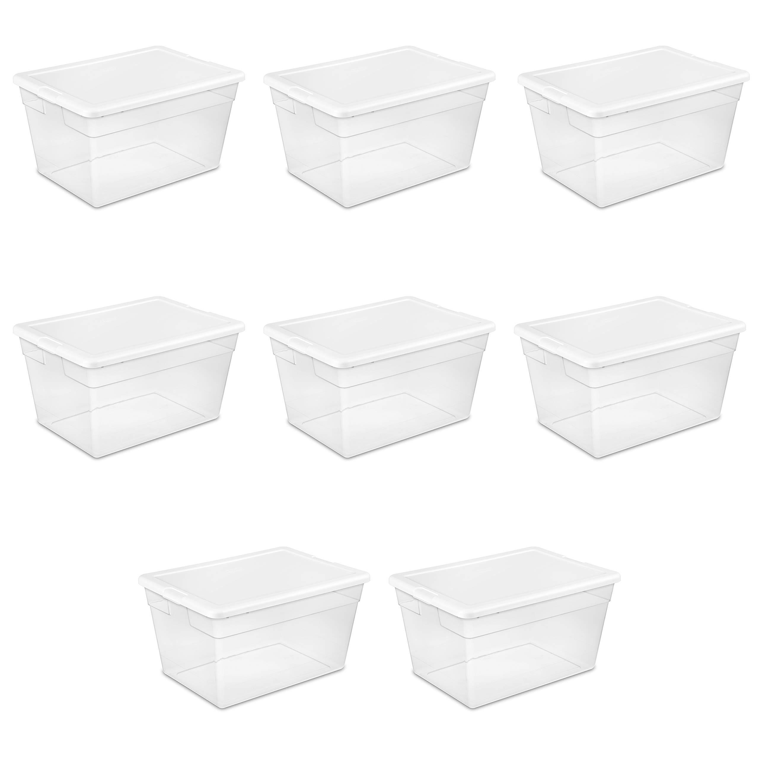 Sterilite 16598008 56 Quart/53 Liter Storage Box, White Lid w/ Clear Base, 8-Pack by STERILITE