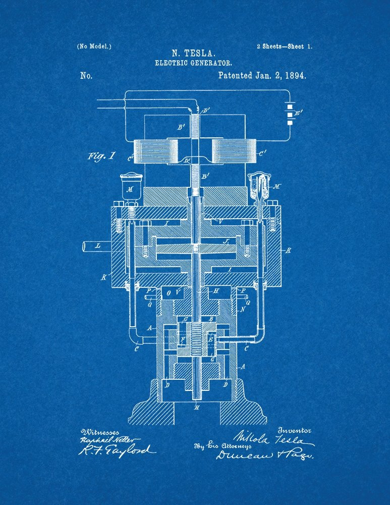 Amazon tesla electric generator patent print art poster amazon tesla electric generator patent print art poster blueprint 85 x 11 posters prints malvernweather Gallery