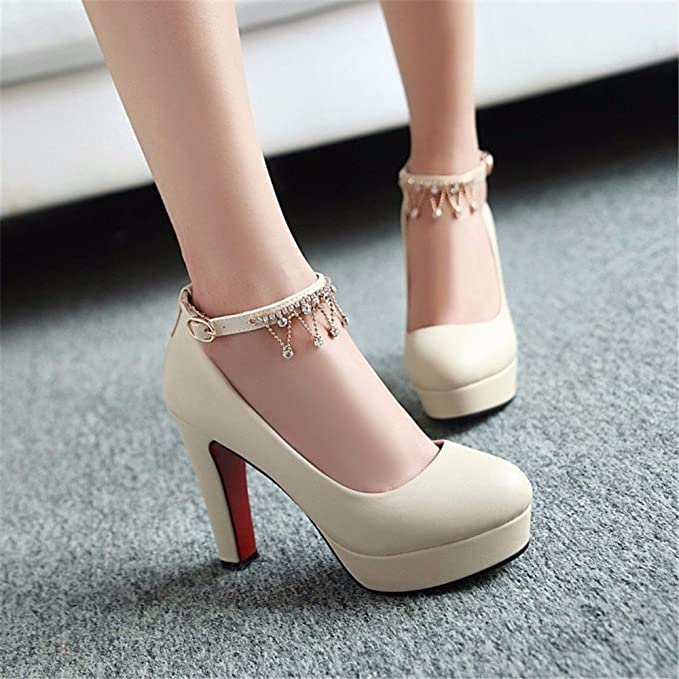 Amazon.com: Waterproof table, womens shoes, Korean high heels, rough heel, round nose, womens shoes-YU&XIN: Sports & Outdoors