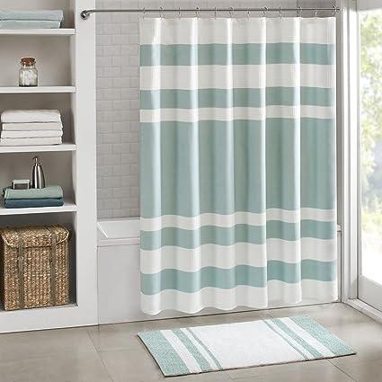 Amazon.com: JLA Home INC Spa Waffle Weave Striped Fabric Shower ...