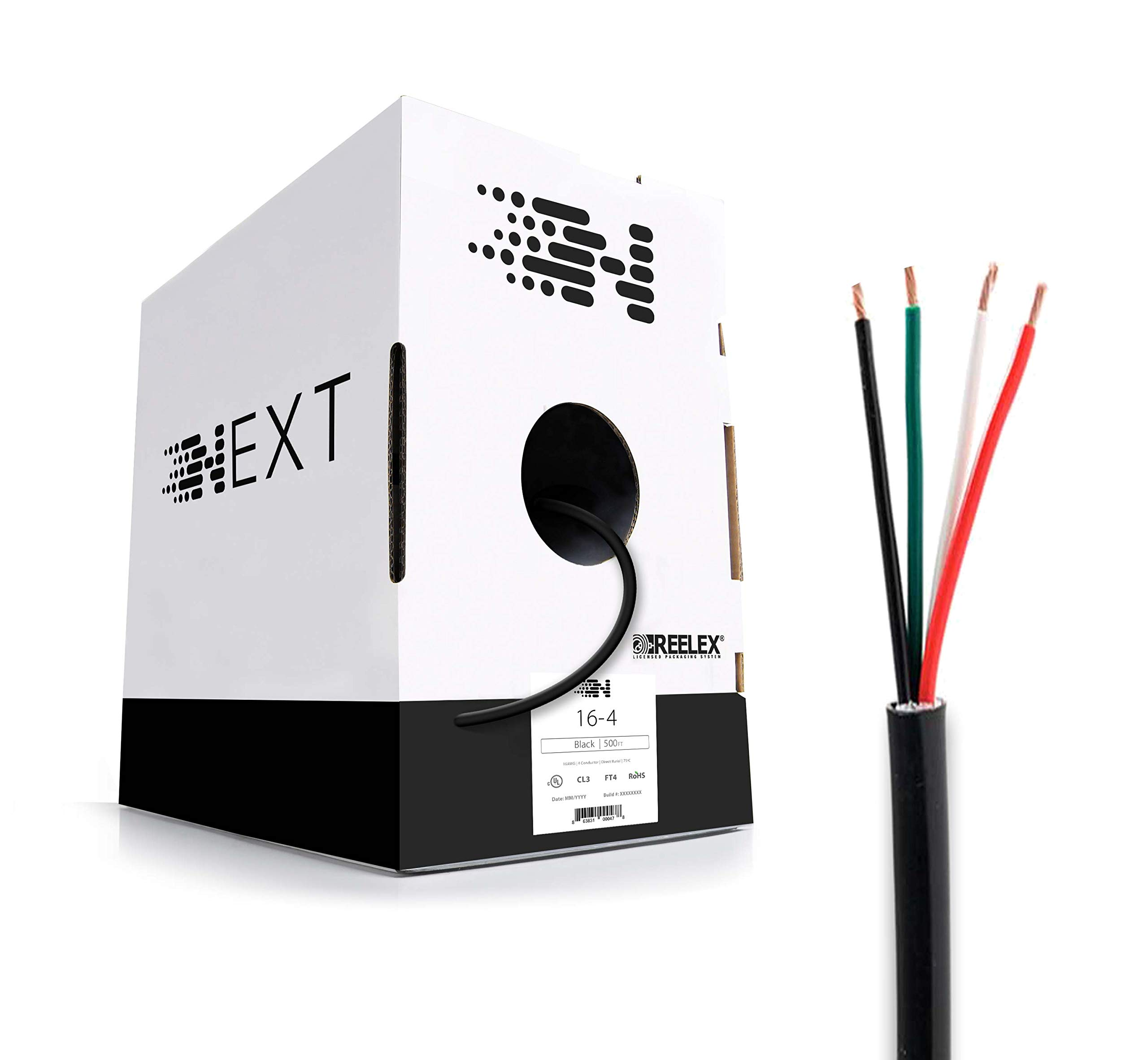 Next 16/4 Speaker Wire - 16 AWG/Gauge 4 Conductor - UL Listed in Wall (CL2/CL3) and Outdoor/In Ground (Direct Burial) Rated - Oxygen-Free Copper (OFC) - 500 Foot Bulk Cable Pull Box - Black by Next