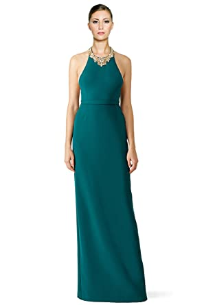 Marchesa Notte Beaded Crepe Halter Evening Gown Dress at Amazon ...