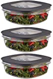 Rubbermaid Premier Food Storage Container, 9 Cup, Grey (3 Pack)