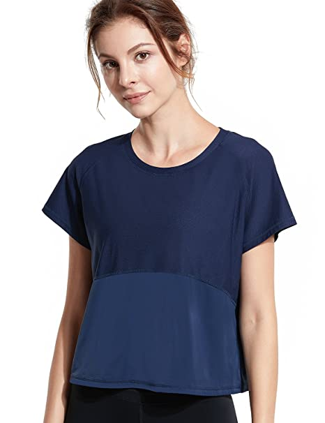 CRZ YOGA Mujer UPF 50+ UV/Sun Camiseta de Manga Corta Tops para Ropa Deportiva