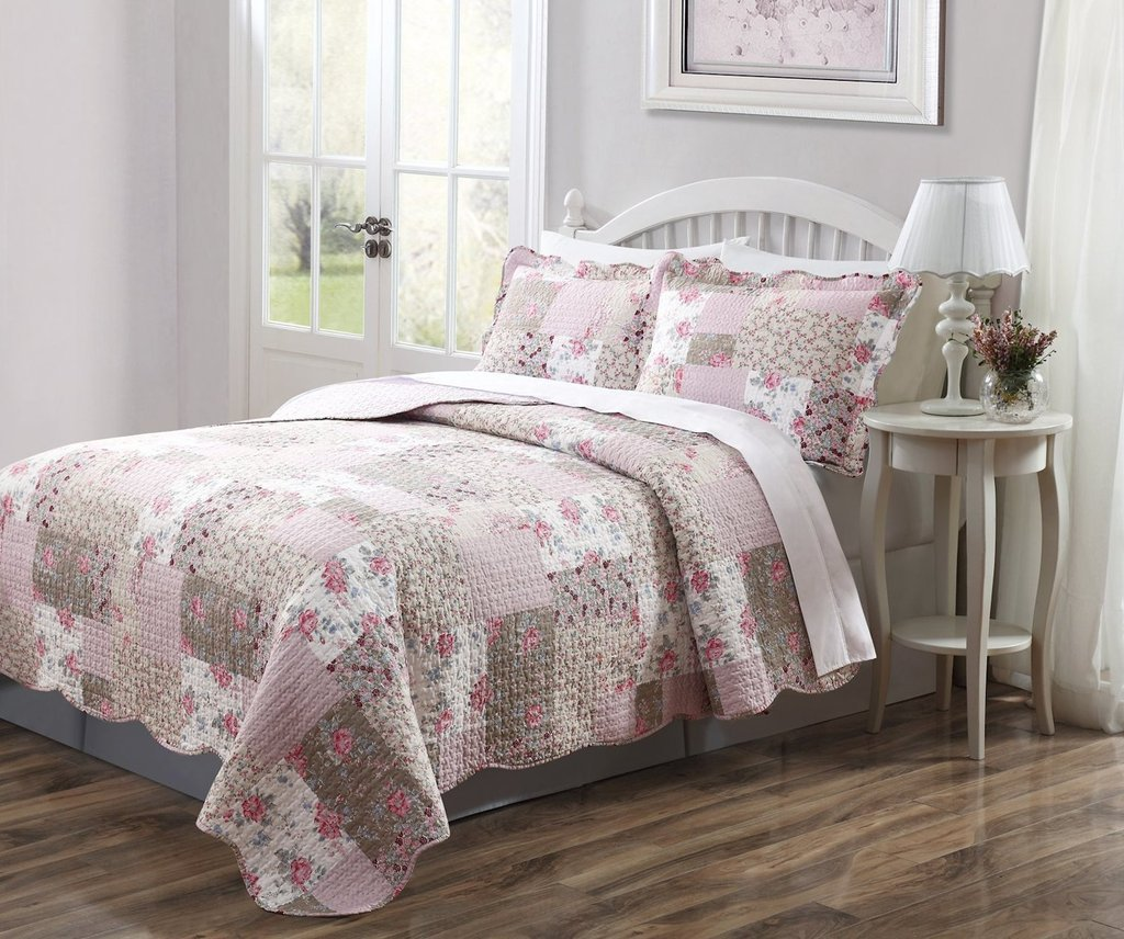 3 PCS Quilted Bedspread Coverlet, Dusty Pink and Taupe, Patchwork Floral Design