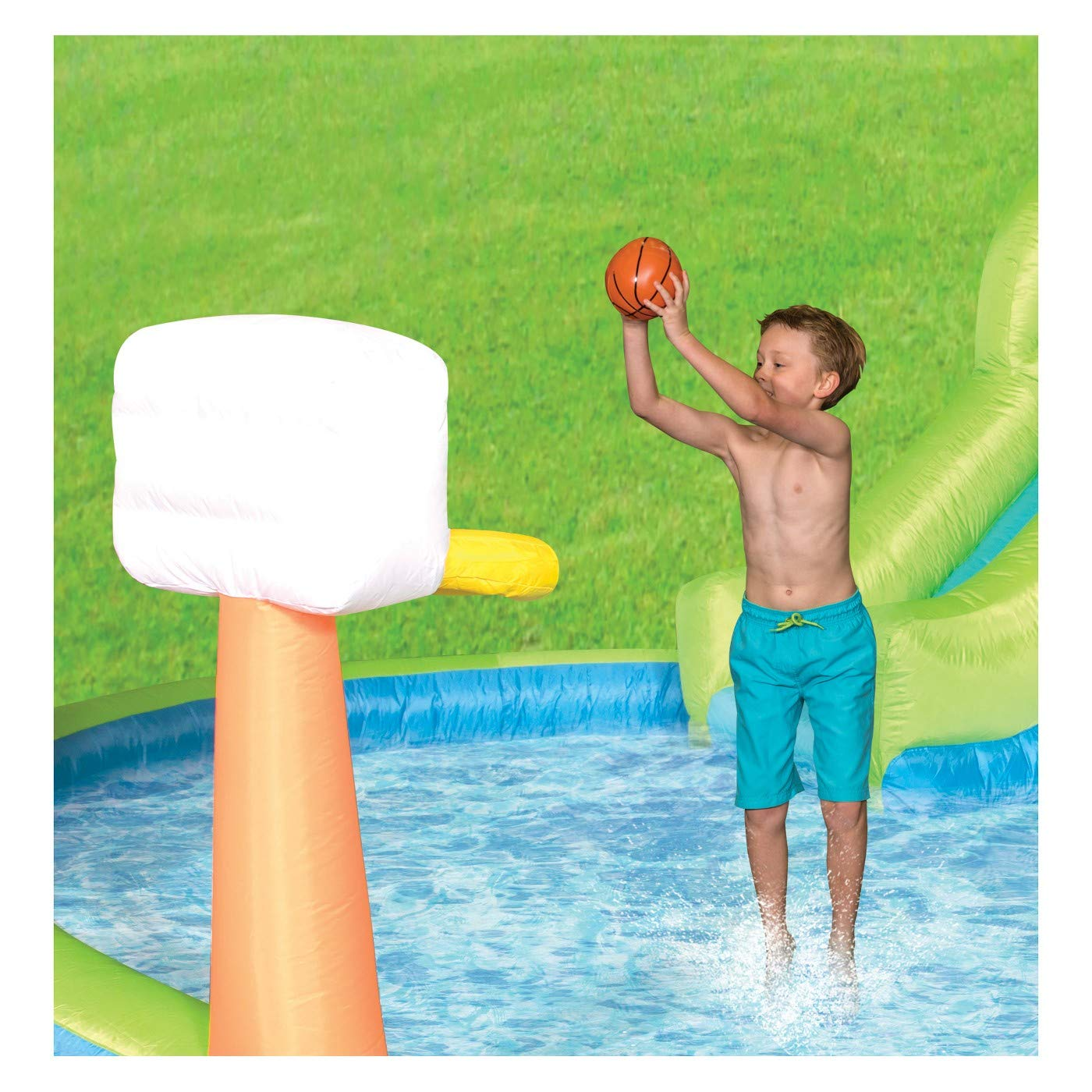 Magic Time Adventure Falls Inflatable Water Park with 2 Slides & Basketball Hoop by MAGIC UNION