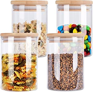 4 Pack Glass Storage Jars with Airtight Bamboo Lid, Aoeoe 29 OZ Glass Food Storage Jar, Glass Kitchen Canisters, Clear Container for Coffee Bean Storage, Dry Goods, Cookie, Candy, Tea, Spices and More
