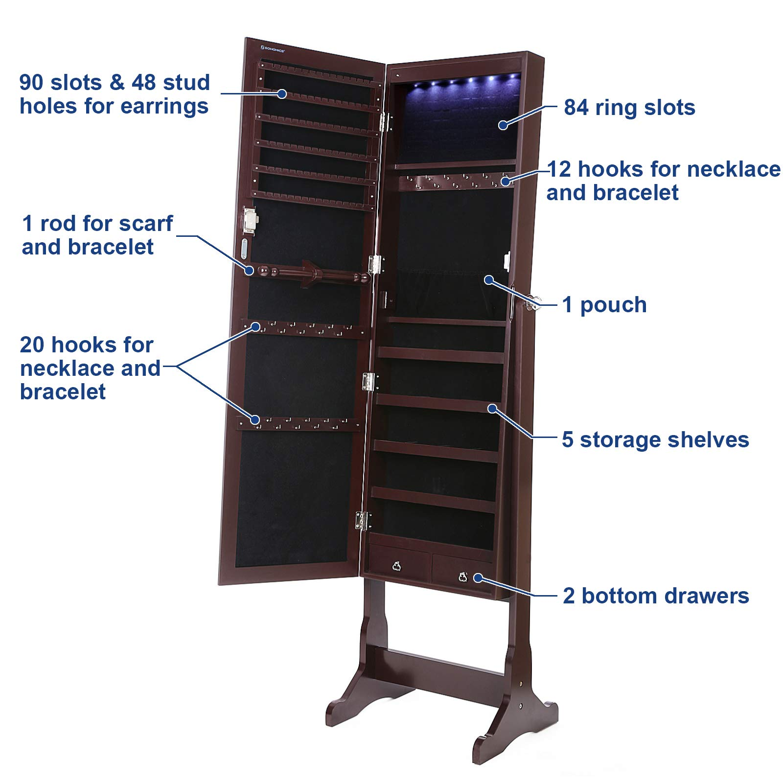 SONGMICS 6 LEDs Mirror Jewelry Cabinet Lockable Standing Mirrored Jewelry Armoire Organizer 2 Drawers Brown Mother's Day Gift UJJC94K by SONGMICS (Image #6)