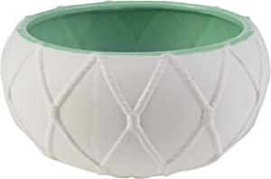 A&B Home Kathy Ireland Nautical Knot Pot, Seafoam Inside, 9 by 4.5-Inch