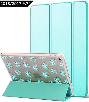 Dailylux Funda Nuevo iPad 9.7 2017/2018 Carcasa Auto-Desbloquear y Función Soporte Ligera Cuero Sintético y Plástico Duro Transparente Esmerilado ...