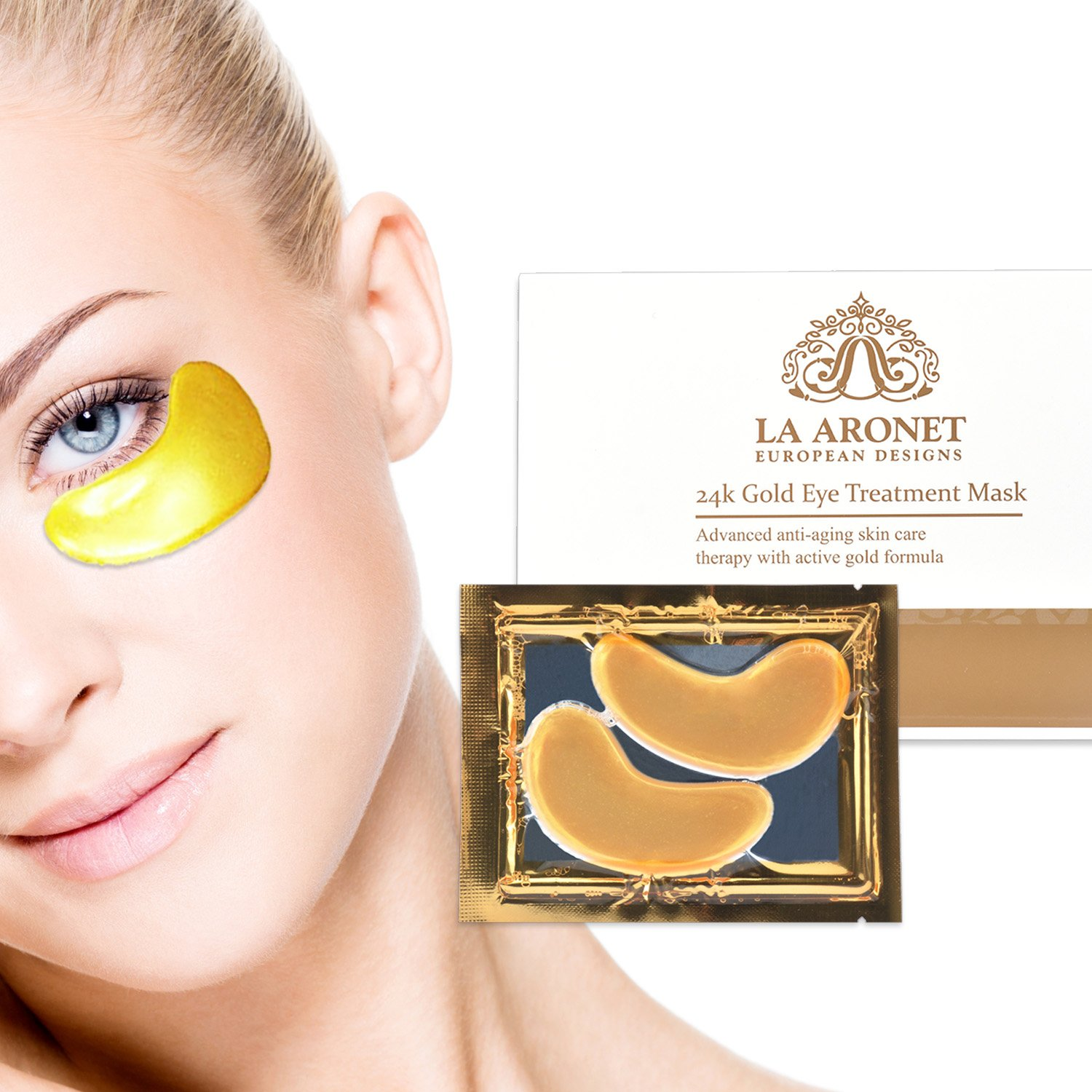 LA ARONET 24K Gold Eye Treatment Masks - (Pack of 20 Pairs) with Anti-Aging Wrinkle Reduction Collagen and Nutrients to Reduce Dark Circles, Bags, and Eye Puffiness, 5 EXTRA BONUS PAIRS included by LA ARONET (Image #7)