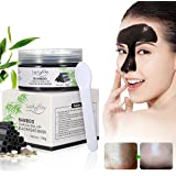 Blackhead Mask - LuckyFine Bamboo Charcoal Peel-off Blackhead Mask, Deep Cleansing Face Mask, Blackhead Acne Pimples Treatment Mask, Blackhead Extractor, Resist Strawberry Nose + Mirror and Spoon