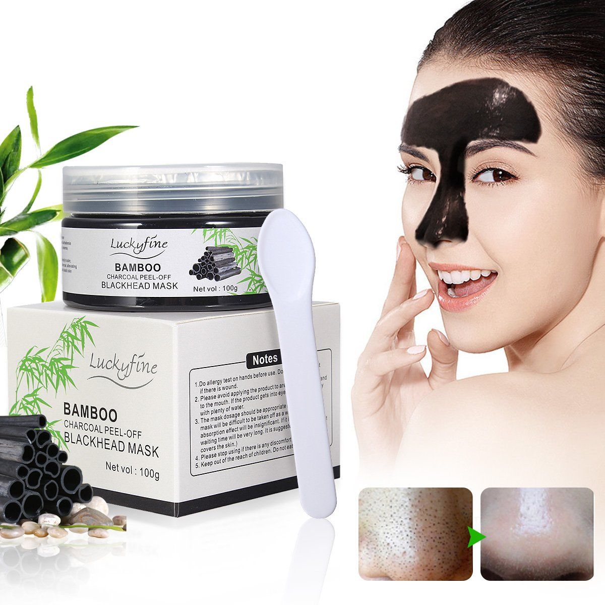 Bamboo Peel off Blackhead Mask, Blackhead Remover Mask LuckyFine Deep Cleansing Purifying Peel Off Acne Blackhead Mask, Remover Blackhead,Acne,Oil-Control ,Nose Peel Off Mask 5 Language Instructions
