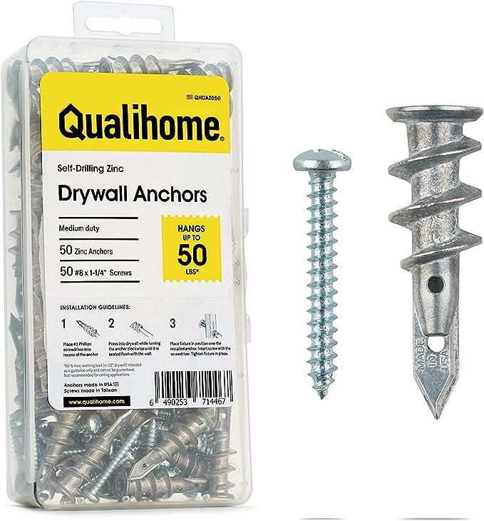 Small Mini #6 Zinc Self Drilling Drywall Anchors with Screws Kit