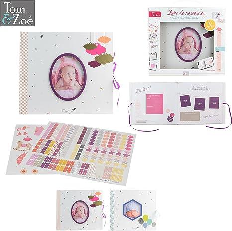 Libro de Nacimiento Personalizable bebé niña 30 páginas, 100 Stickers, incluye 1 toise periódico caja de recuerdos (a compléter cámara Tom & Zoé rosa: Amazon.es: Bebé
