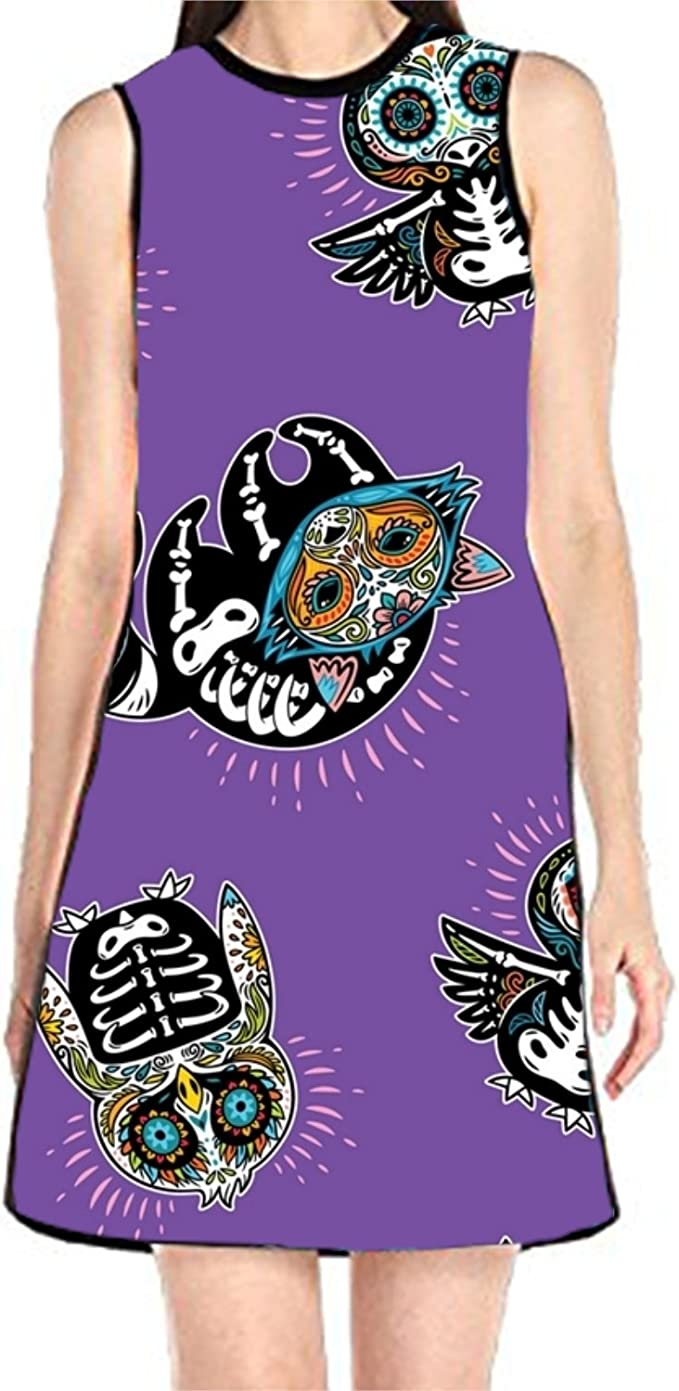 aportt Shift Dress Sleeveless Tank Dresses Parrot Leaves Printed Beach Suit for Women