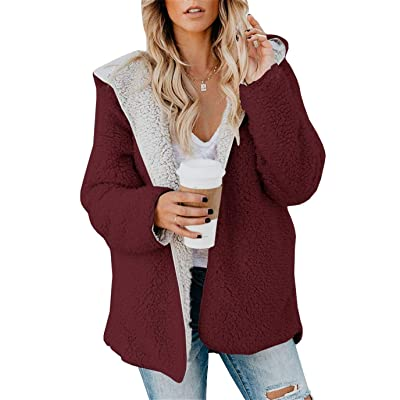 ReachMe Womens Oversized Sherpa Jacket Fuzzy Fleece Teddy Coat with Pockets Open Front Hooded Cardigan at Women's Coats Shop