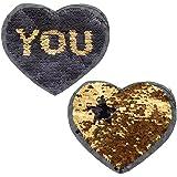 YNuth Parche de Lentejuelas del Diseño de Corazón Reversible Letras para Decoración de Ropa