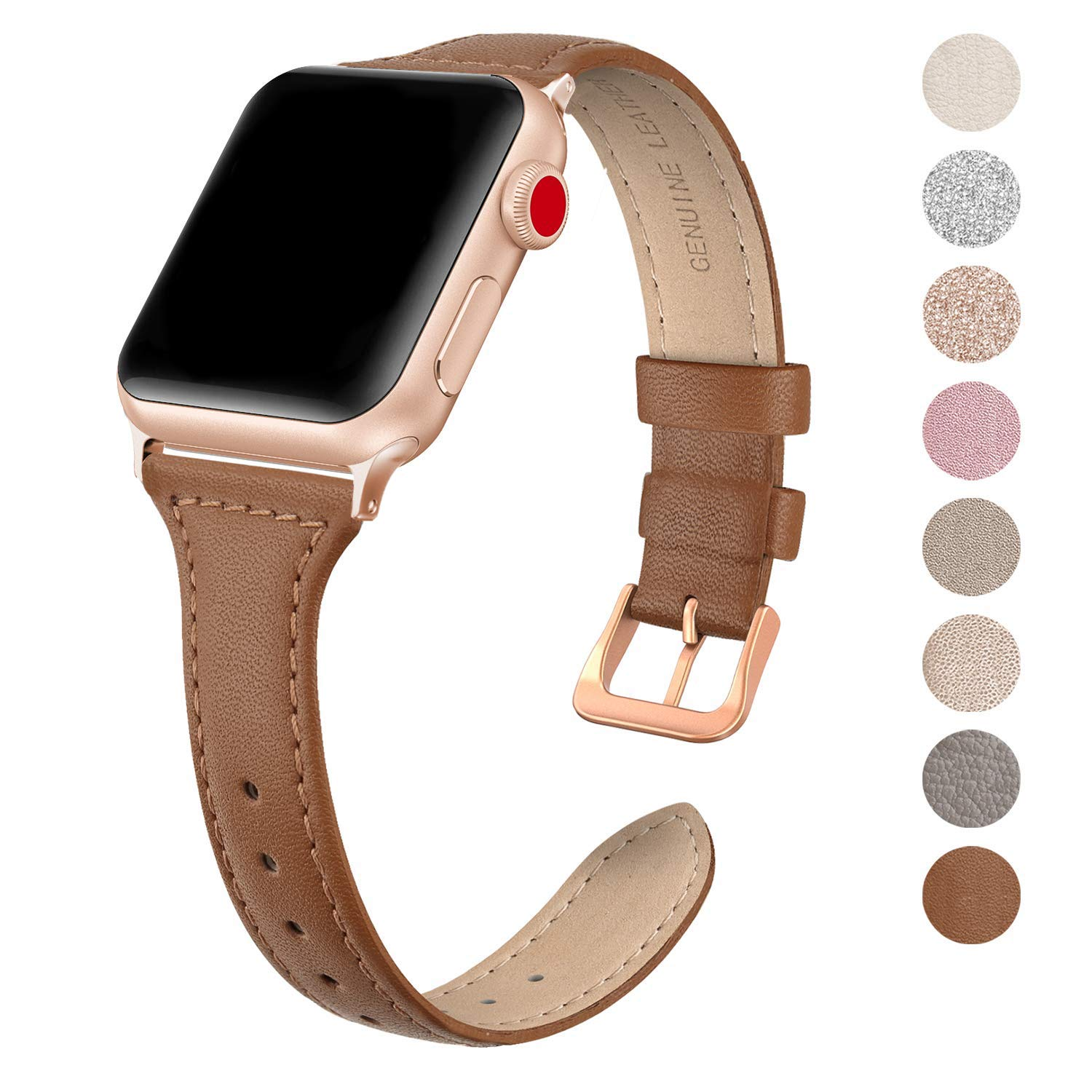 SWEES Leather Band Compatible for Apple Watch iWatch 38mm 40mm, Slim Thin Dressy Elegant Genuine Leather Strap Compatible iWatch Series 4 Series 3 Series 2 Series 1 Sport Edition Women, Brown by SWEES